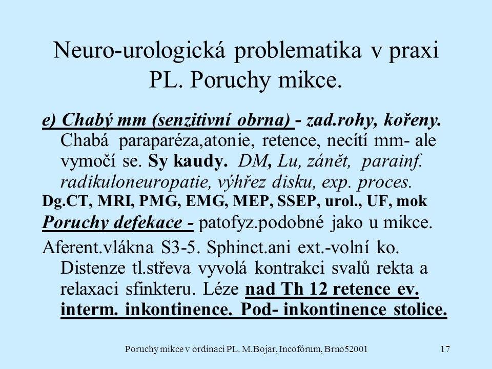 Poruchy mikce v ordinaci PL. M.Bojar, Incofórum, Brno5200117 Neuro-urologická problematika v praxi PL. Poruchy mikce. e) Chabý mm (senzitivní obrna) -