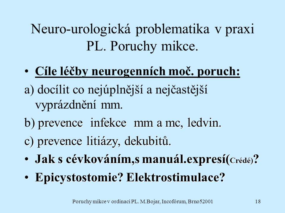 Poruchy mikce v ordinaci PL. M.Bojar, Incofórum, Brno5200118 Neuro-urologická problematika v praxi PL. Poruchy mikce. Cíle léčby neurogenních moč. por
