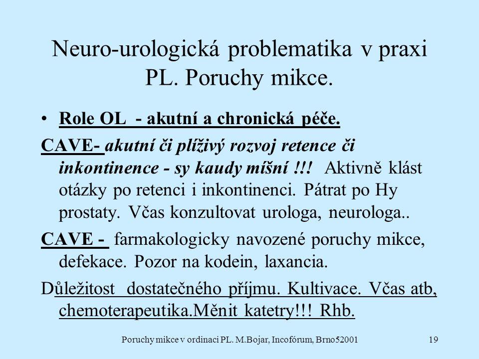 Poruchy mikce v ordinaci PL. M.Bojar, Incofórum, Brno5200119 Neuro-urologická problematika v praxi PL. Poruchy mikce. Role OL - akutní a chronická péč