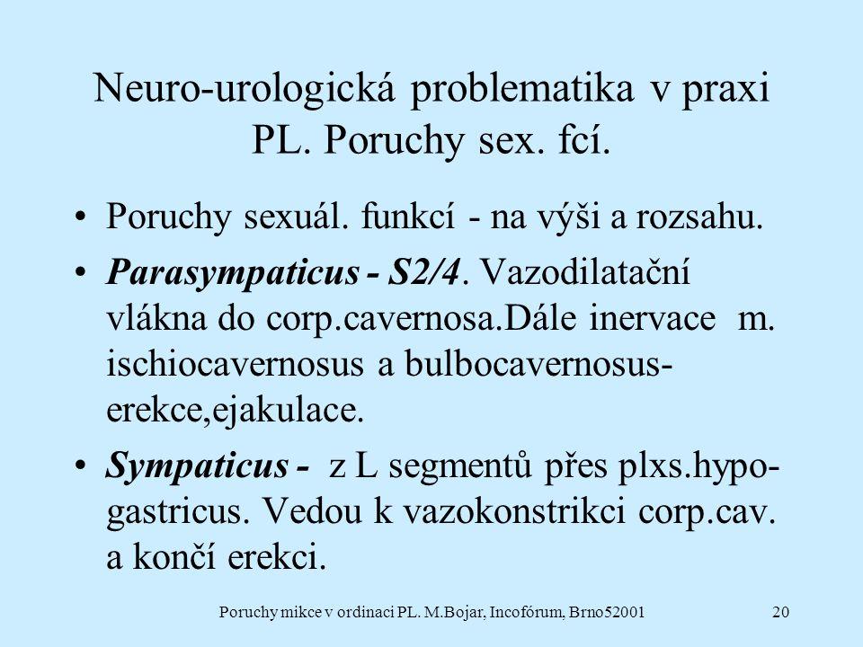 Poruchy mikce v ordinaci PL. M.Bojar, Incofórum, Brno5200120 Neuro-urologická problematika v praxi PL. Poruchy sex. fcí. Poruchy sexuál. funkcí - na v