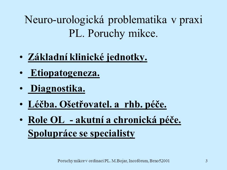 Poruchy mikce v ordinaci PL. M.Bojar, Incofórum, Brno520013 Neuro-urologická problematika v praxi PL. Poruchy mikce. Základní klinické jednotky. Etiop
