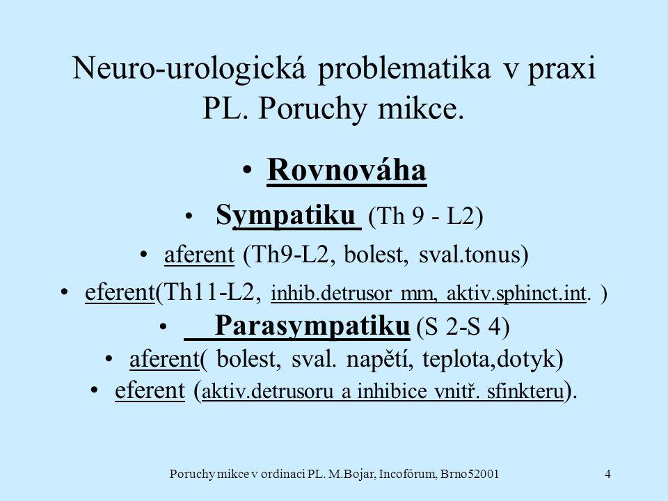 Poruchy mikce v ordinaci PL. M.Bojar, Incofórum, Brno520014 Neuro-urologická problematika v praxi PL. Poruchy mikce. Rovnováha Sympatiku (Th 9 - L2) a