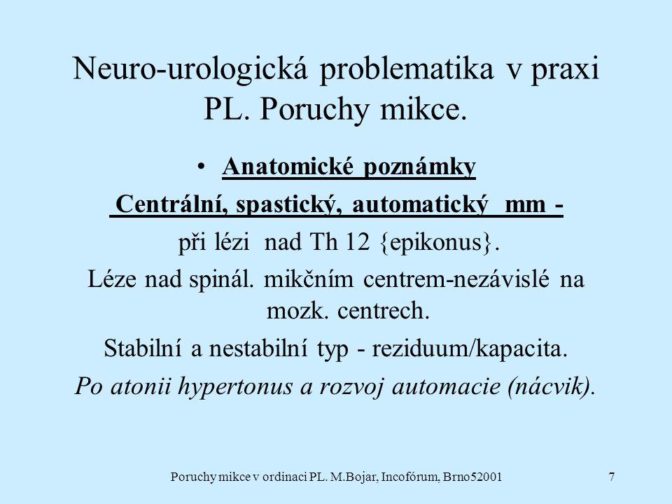 Poruchy mikce v ordinaci PL. M.Bojar, Incofórum, Brno520017 Neuro-urologická problematika v praxi PL. Poruchy mikce. Anatomické poznámky Centrální, sp