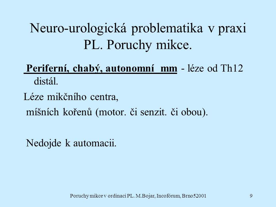 9 Neuro-urologická problematika v praxi PL. Poruchy mikce. Periferní, chabý, autonomní mm - léze od Th12 distál. Léze mikčního centra, míšních kořenů