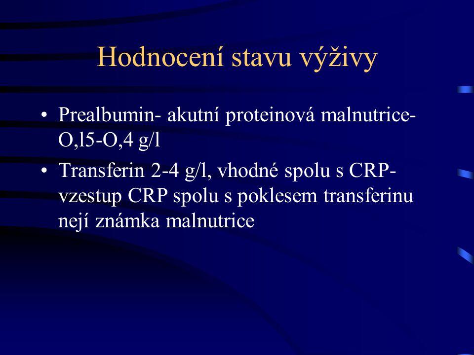 Hodnocení stavu výživy Prealbumin- akutní proteinová malnutrice- O,l5-O,4 g/l Transferin 2-4 g/l, vhodné spolu s CRP- vzestup CRP spolu s poklesem transferinu nejí známka malnutrice