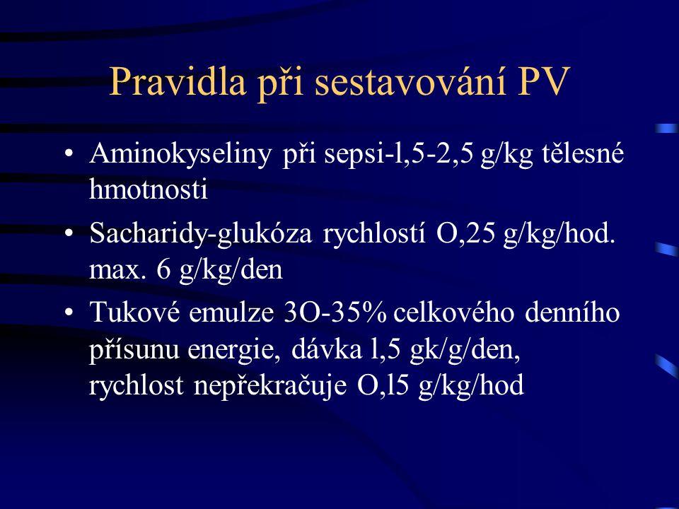 Pravidla při sestavování PV Aminokyseliny při sepsi-l,5-2,5 g/kg tělesné hmotnosti Sacharidy-glukóza rychlostí O,25 g/kg/hod.