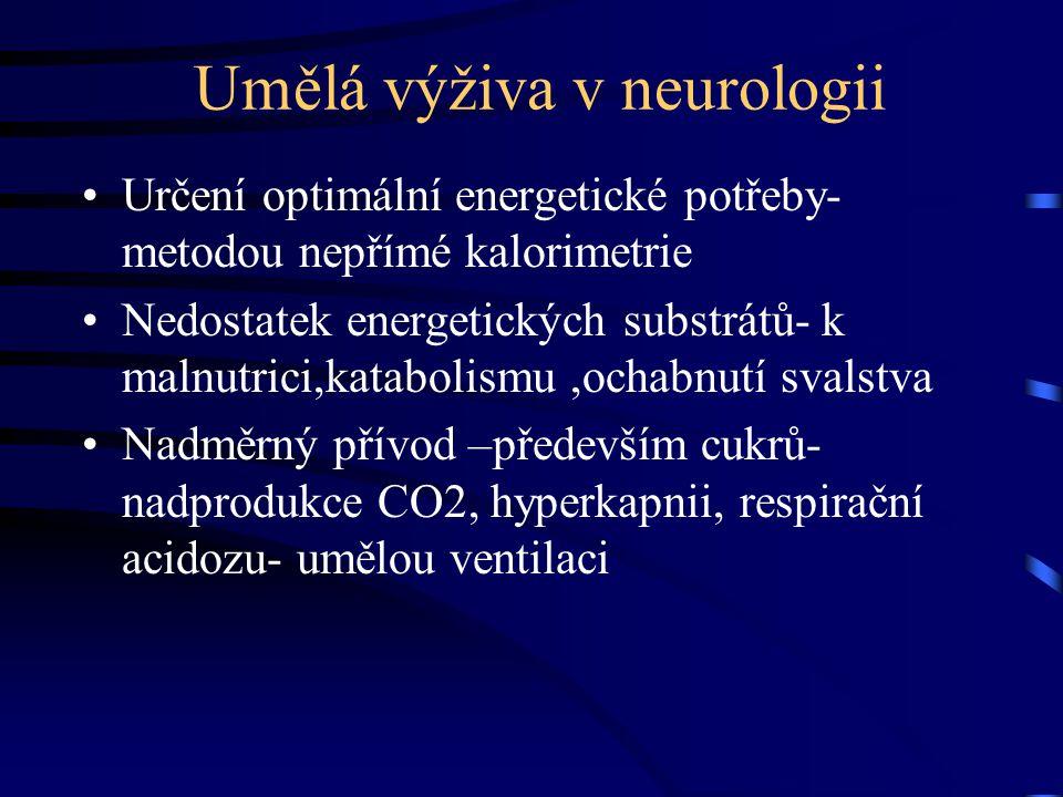 Umělá výživa v neurologii Určení optimální energetické potřeby- metodou nepřímé kalorimetrie Nedostatek energetických substrátů- k malnutrici,katabolismu,ochabnutí svalstva Nadměrný přívod –především cukrů- nadprodukce CO2, hyperkapnii, respirační acidozu- umělou ventilaci