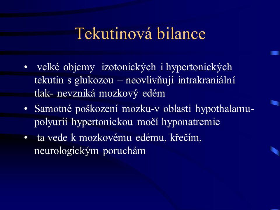 Tekutinová bilance velké objemy izotonických i hypertonických tekutin s glukozou – neovlivňují intrakraniální tlak- nevzniká mozkový edém Samotné poškození mozku-v oblasti hypothalamu- polyurií hypertonickou močí hyponatremie ta vede k mozkovému edému, křečím, neurologickým poruchám