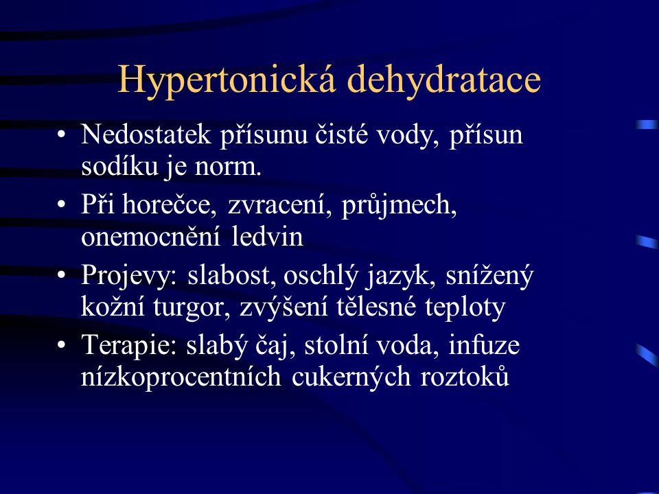 Hypertonická dehydratace Nedostatek přísunu čisté vody, přísun sodíku je norm.