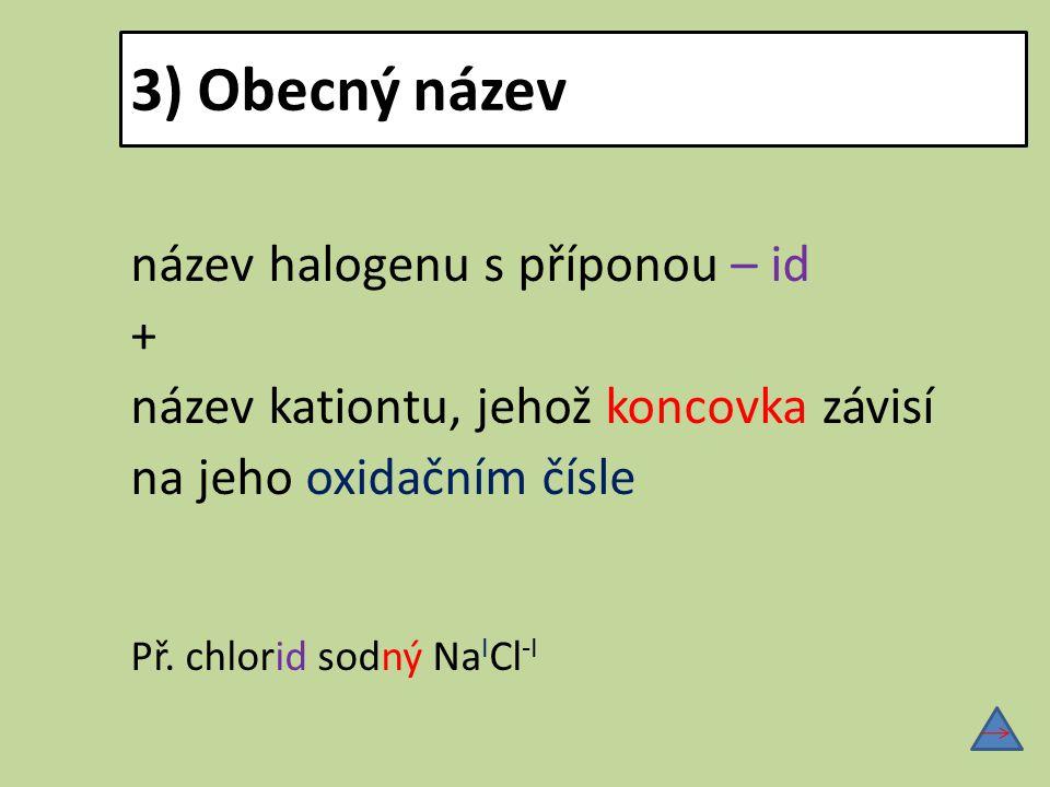 3) Obecný název název halogenu s příponou – id + název kationtu, jehož koncovka závisí na jeho oxidačním čísle Př. chlorid sodný Na I Cl -I
