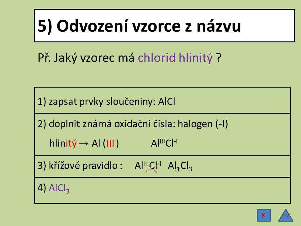 5) Odvození vzorce z názvu Př. Jaký vzorec má chlorid hlinitý ? 1) zapsat prvky sloučeniny: AlCl 2) doplnit známá oxidační čísla: halogen (-I) hlinitý