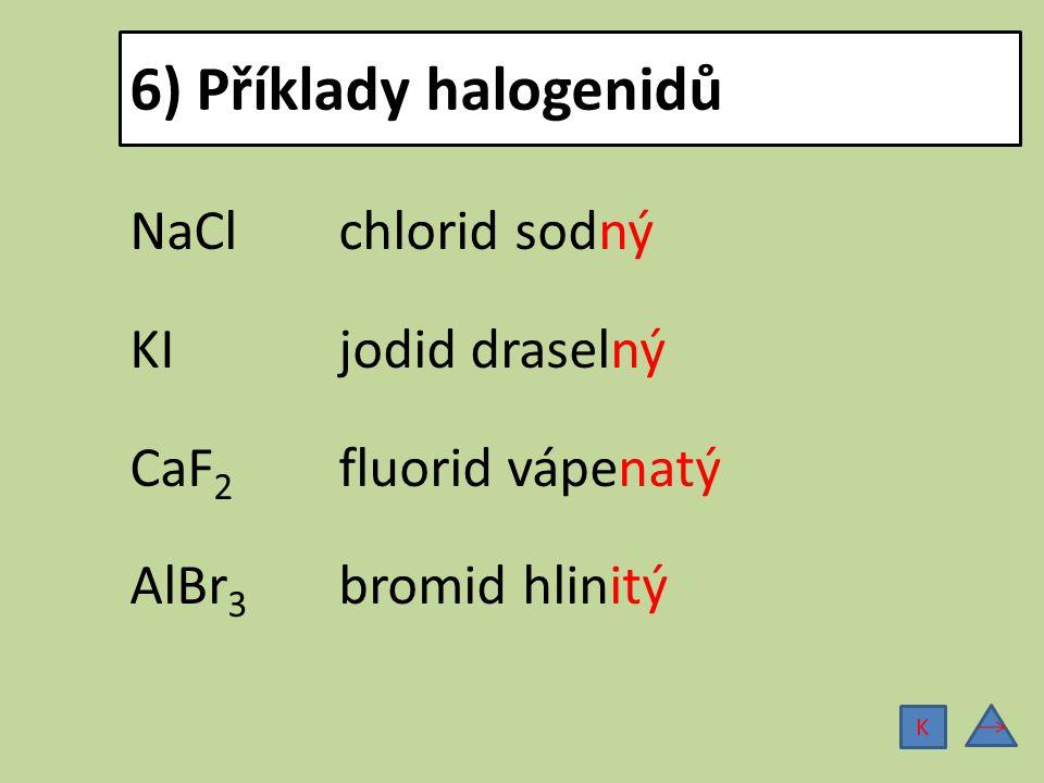 Analogie NaCl chlorid sodný KCl chlorid draselný CaF 2 fluorid vápenatý CaCl 2 chlorid vápenatý AlBr 3 bromid hlinitý FeCl 3 chlorid železitý Na základě analogie můžeme odvodit další vzorce a názvy halogenidů: K
