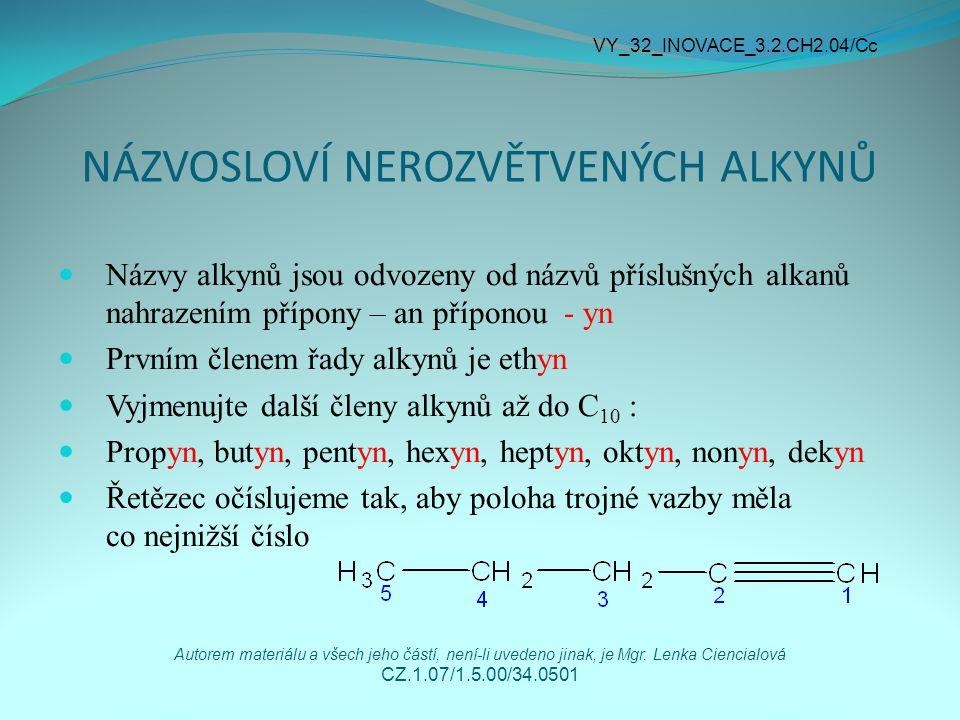 JEDNOVAZNÉ UHLOVODÍKOVÉ ZBYTKY Obecné označení - R Jsou odvozené od alkynů odnětím vodíku Obecný název – alkynyly Ethyn ethynyl CH ≡ C – Propyn propynyl CH ≡ C – CH 2 – VY_32_INOVACE_3.2.CH2.04/Cc Autorem materiálu a všech jeho částí, není-li uvedeno jinak, je Mgr.