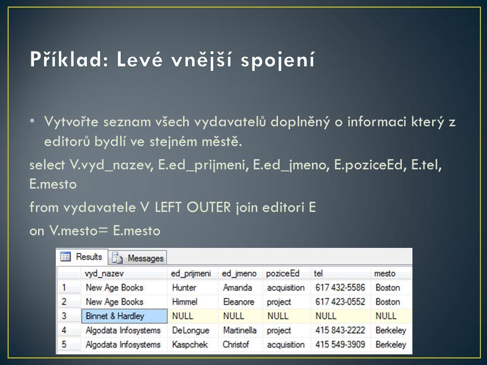 Vytvořte seznam všech vydavatelů doplněný o informaci který z editorů bydlí ve stejném městě. select V.vyd_nazev, E.ed_prijmeni, E.ed_jmeno, E.poziceE
