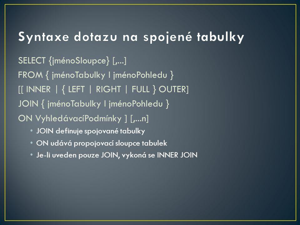 Dotaz se spojením tabulek lze zapsat i bez použití klauzule JOIN a ON.