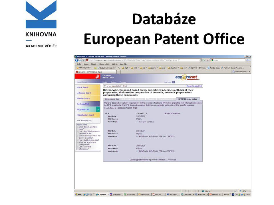 Databáze European Patent Office