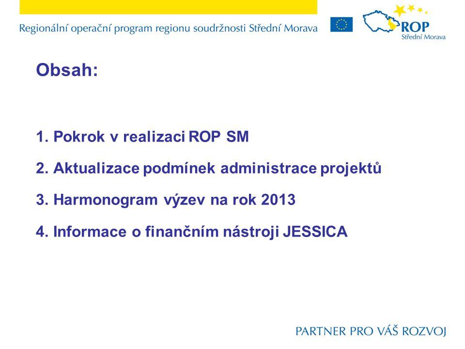 Obsah: 1.Pokrok v realizaci ROP SM 2.Aktualizace podmínek administrace projektů 3.Harmonogram výzev na rok 2013 4.Informace o finančním nástroji JESSICA