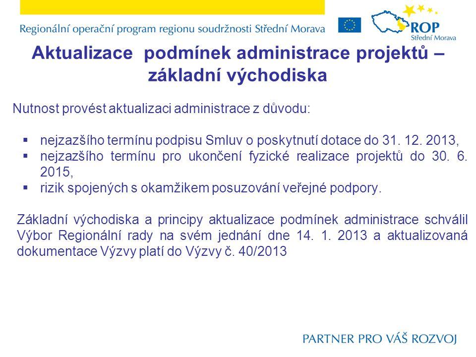 Aktualizace podmínek administrace projektů Zkrácení jednotlivých fází administrace  zkrácení doby pro předkládání projektových žádostí z 44 pracovních dnů na 32 pracovních dnů,  sjednocení lhůty dopracování projektů v rámci Etapy 2 na 66 pracovních dnů bez ohledu na velikost projektu,  zkrácení administrace ze strany ÚRR (kontrola dokumentace, komunikace),  zjednodušení Etapy 3 Uzavření Smlouvy o poskytnutí dotace – nejsou vyžadovány žádné povinné přílohy,  změna okamžiku předložení vybraných povinných příloh – vznik nové Etapy 4 – Povinné přílohy po uzavření Smlouvy o poskytnutí dotace,  přesun posuzování veřejné podpory a velikosti podniku z fáze kontroly formálních náležitostí do Etapy 2 Dopracování projektu.