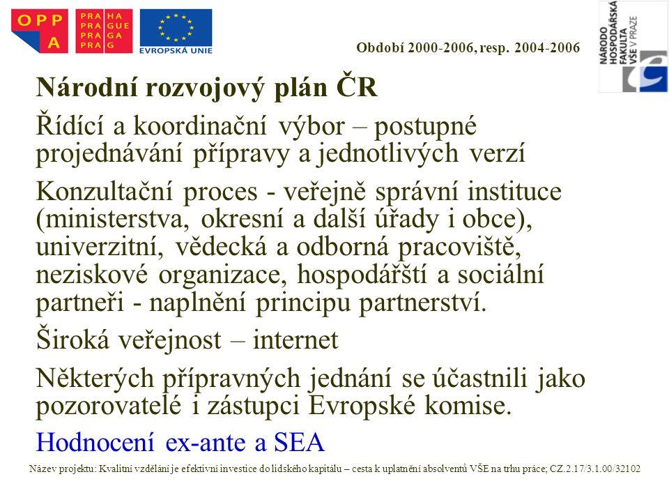 Období 2000-2006, resp. 2004-2006 Národní rozvojový plán ČR Řídící a koordinační výbor – postupné projednávání přípravy a jednotlivých verzí Konzultač