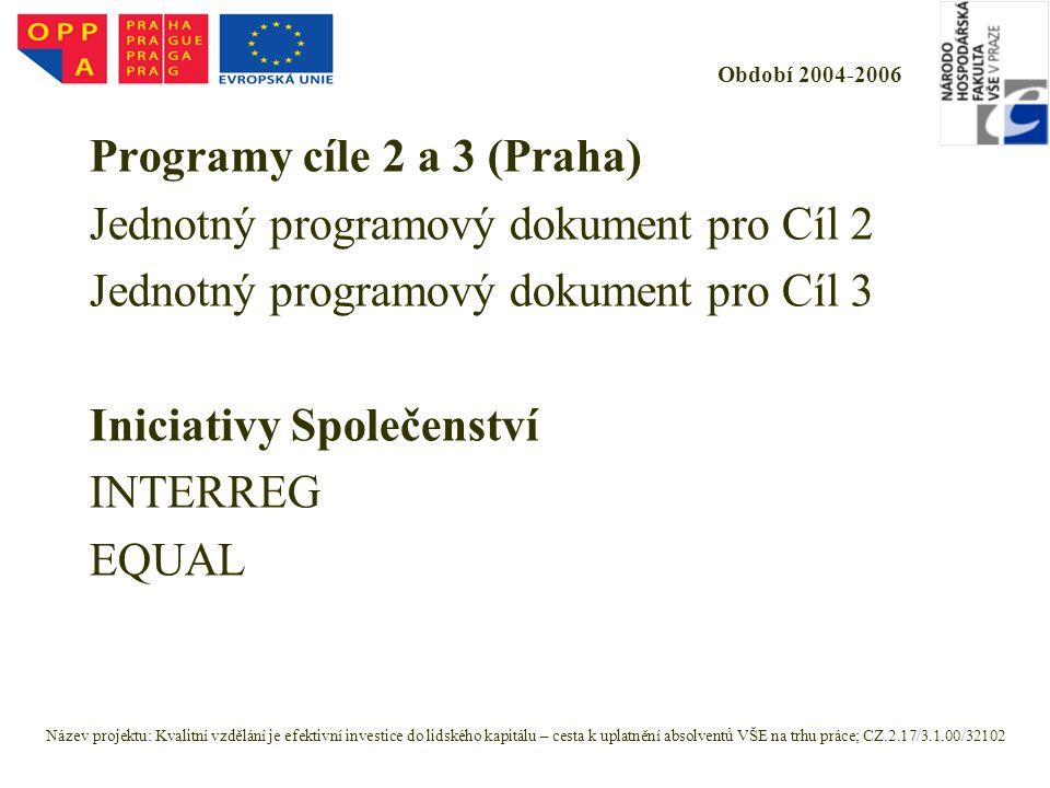 Období 2004-2006 Programy cíle 2 a 3 (Praha) Jednotný programový dokument pro Cíl 2 Jednotný programový dokument pro Cíl 3 Iniciativy Společenství INTERREG EQUAL Název projektu: Kvalitní vzdělání je efektivní investice do lidského kapitálu – cesta k uplatnění absolventů VŠE na trhu práce; CZ.2.17/3.1.00/32102