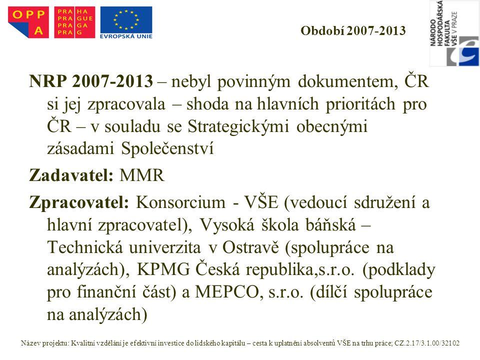 Období 2007-2013 NRP 2007-2013 – nebyl povinným dokumentem, ČR si jej zpracovala – shoda na hlavních prioritách pro ČR – v souladu se Strategickými ob