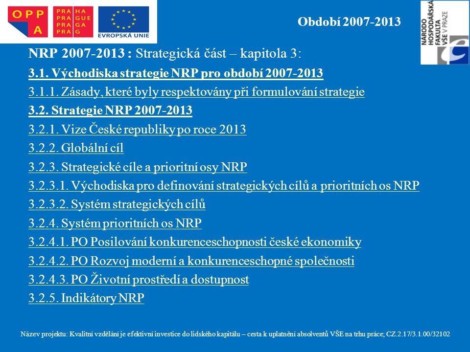 Období 2007-2013 NRP 2007-2013 : Strategická část – kapitola 3: 3.1. Východiska strategie NRP pro období 2007-2013 3.1.1. Zásady, které byly respektov
