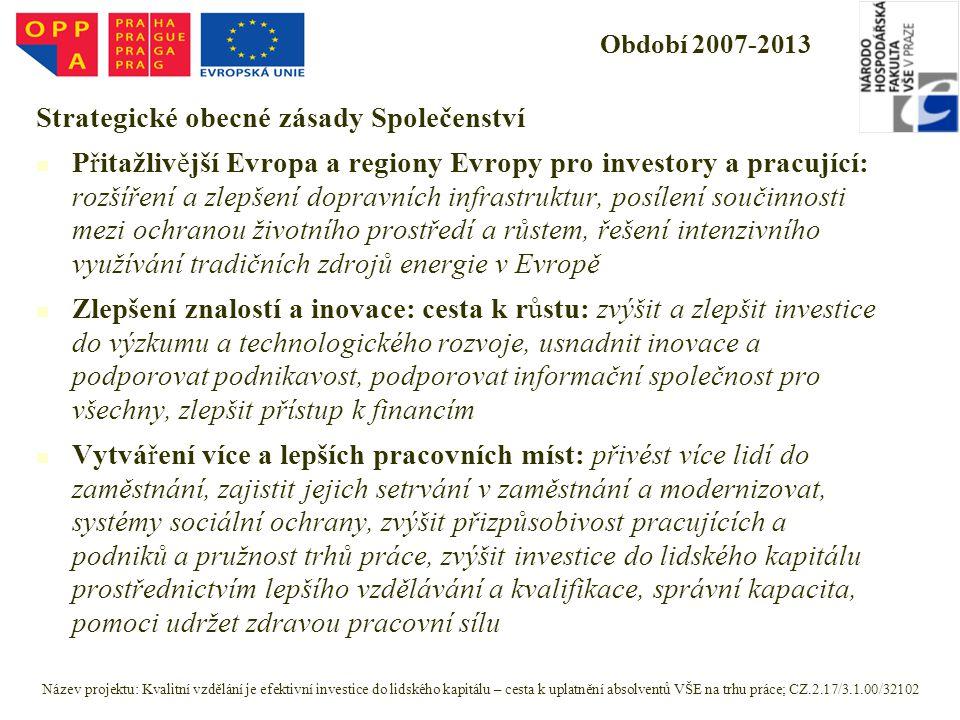 Období 2007-2013 Strategické obecné zásady Společenství Přitažlivější Evropa a regiony Evropy pro investory a pracující: rozšíření a zlepšení dopravních infrastruktur, posílení součinnosti mezi ochranou životního prostředí a růstem, řešení intenzivního využívání tradičních zdrojů energie v Evropě Zlepšení znalostí a inovace: cesta k růstu: zvýšit a zlepšit investice do výzkumu a technologického rozvoje, usnadnit inovace a podporovat podnikavost, podporovat informační společnost pro všechny, zlepšit přístup k financím Vytváření více a lepších pracovních míst: přivést více lidí do zaměstnání, zajistit jejich setrvání v zaměstnání a modernizovat, systémy sociální ochrany, zvýšit přizpůsobivost pracujících a podniků a pružnost trhů práce, zvýšit investice do lidského kapitálu prostřednictvím lepšího vzdělávání a kvalifikace, správní kapacita, pomoci udržet zdravou pracovní sílu Název projektu: Kvalitní vzdělání je efektivní investice do lidského kapitálu – cesta k uplatnění absolventů VŠE na trhu práce; CZ.2.17/3.1.00/32102