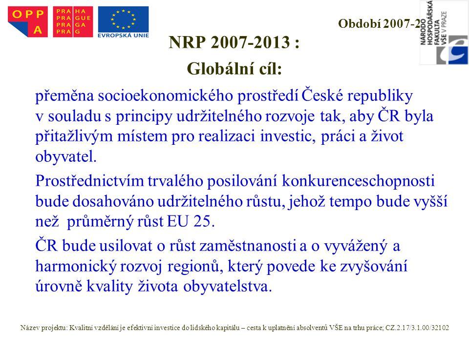 Období 2007-2013 NRP 2007-2013 : Globální cíl: přeměna socioekonomického prostředí České republiky v souladu s principy udržitelného rozvoje tak, aby ČR byla přitažlivým místem pro realizaci investic, práci a život obyvatel.
