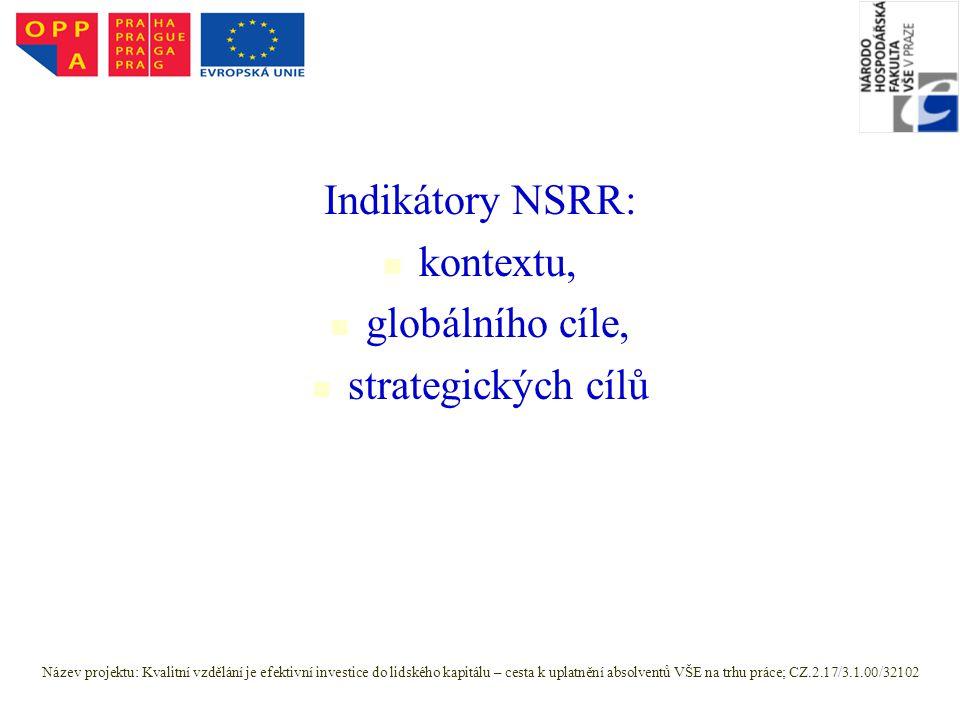 Indikátory NSRR: kontextu, globálního cíle, strategických cílů Název projektu: Kvalitní vzdělání je efektivní investice do lidského kapitálu – cesta k uplatnění absolventů VŠE na trhu práce; CZ.2.17/3.1.00/32102