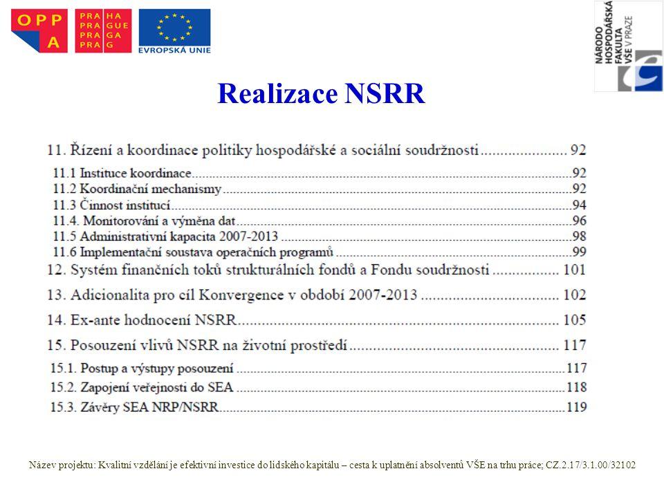 Realizace NSRR Název projektu: Kvalitní vzdělání je efektivní investice do lidského kapitálu – cesta k uplatnění absolventů VŠE na trhu práce; CZ.2.17/3.1.00/32102