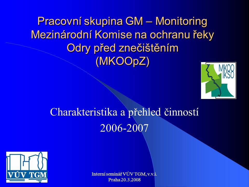 Interní seminář VÚV TGM, v.v.i. Praha 20.3.2008 Pracovní skupina GM – Monitoring Mezinárodní Komise na ochranu řeky Odry před znečištěním (MKOOpZ) Cha