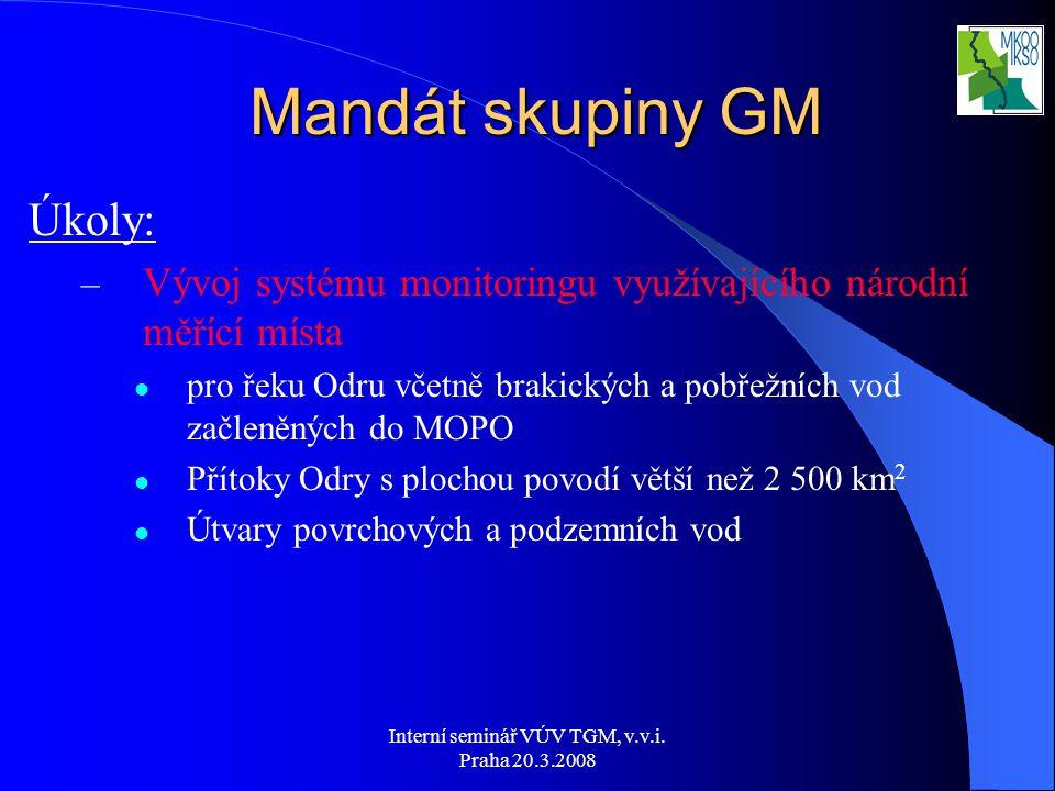 Interní seminář VÚV TGM, v.v.i. Praha 20.3.2008 Úkoly: – Vývoj systému monitoringu využívajícího národní měřící místa pro řeku Odru včetně brakických