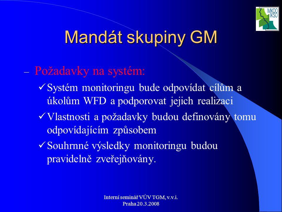 Interní seminář VÚV TGM, v.v.i. Praha 20.3.2008 Mandát skupiny GM – Požadavky na systém: Systém monitoringu bude odpovídat cílům a úkolům WFD a podpor