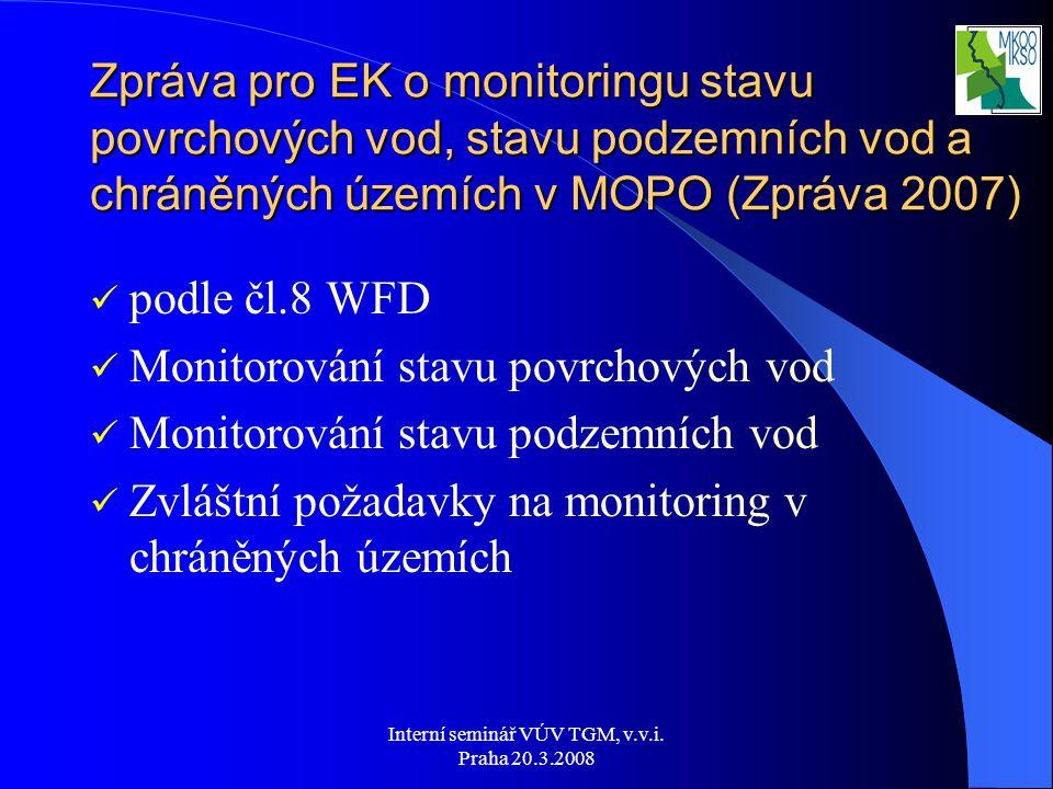 Interní seminář VÚV TGM, v.v.i. Praha 20.3.2008 Zpráva pro EK o monitoringu stavu povrchových vod, stavu podzemních vod a chráněných územích v MOPO (Z