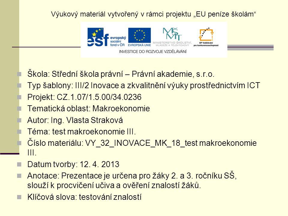 test makroekonomie III.11.