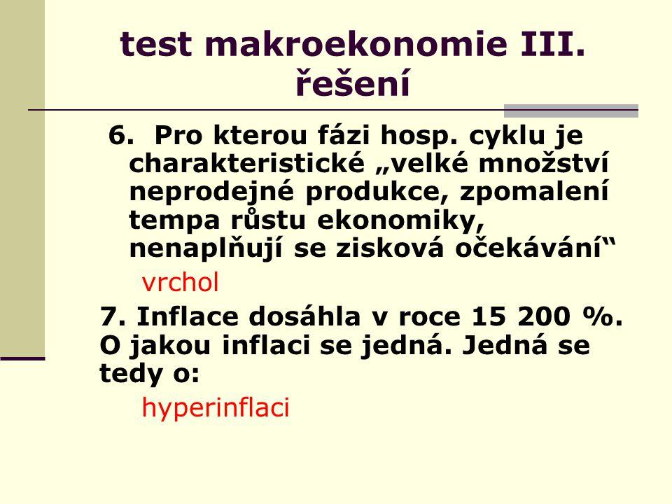 test makroekonomie III. řešení 6. Pro kterou fázi hosp.