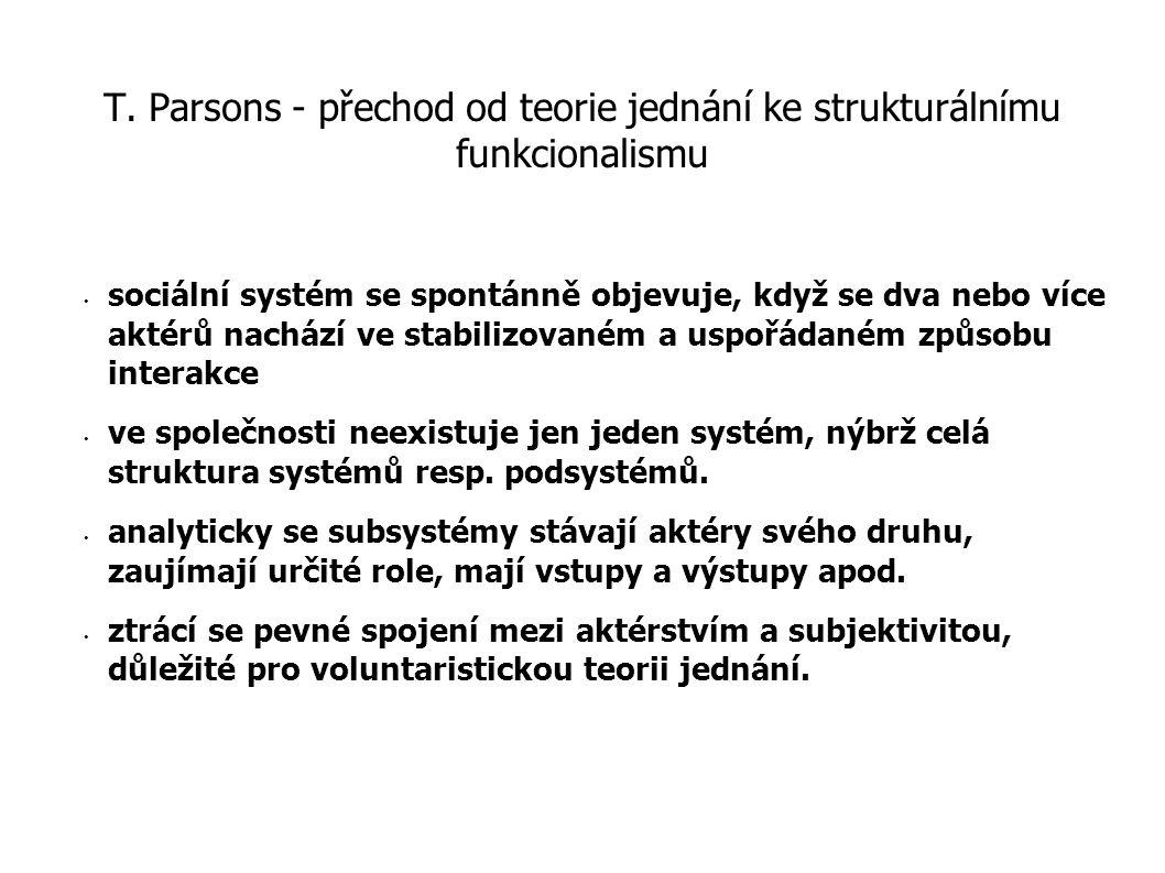 R.K.Merton - paradigma pro funkcionální analýzu I revize funkcionalismu: - nekonzistentnosti používání pojmu funkce, kterou je podle něj třeba definovat jako pozorovatelné objektivní důsledky přispívající k udržení společnosti - trvání na postulátech: funkční jednoty společnosti (funkce pouze vzhledem k celku), všeobecné funkcionality (každý prvek plní funkci) a nepostradatelnosti (funkce nebo prvku pro společnost).