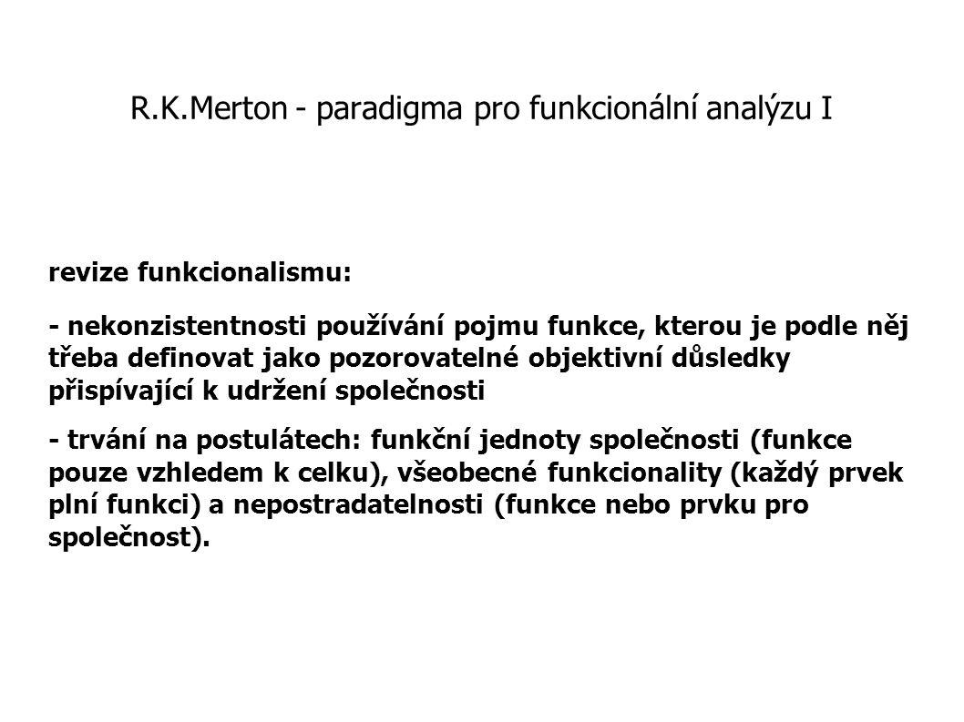 R.K.Merton - paradigma pro funkcionální analýzu I revize funkcionalismu: - nekonzistentnosti používání pojmu funkce, kterou je podle něj třeba definov
