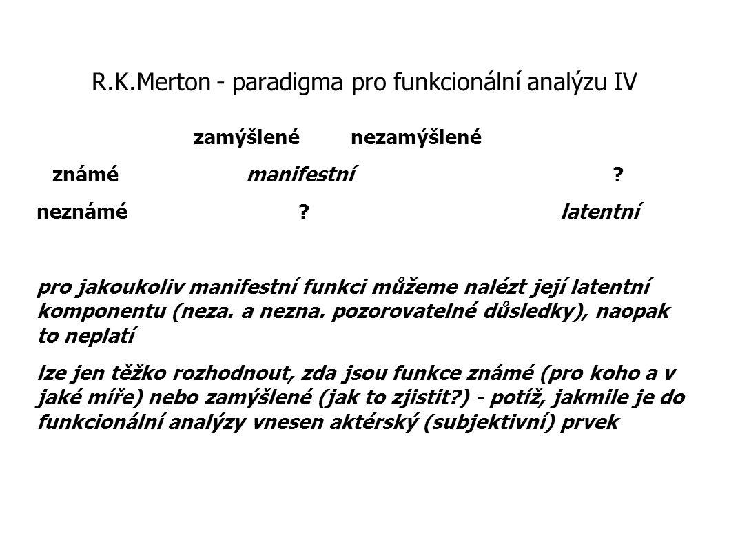 R.K.Merton - paradigma pro funkcionální analýzu IV zamýšlené nezamýšlené známémanifestní? neznámé?latentní pro jakoukoliv manifestní funkci můžeme nal
