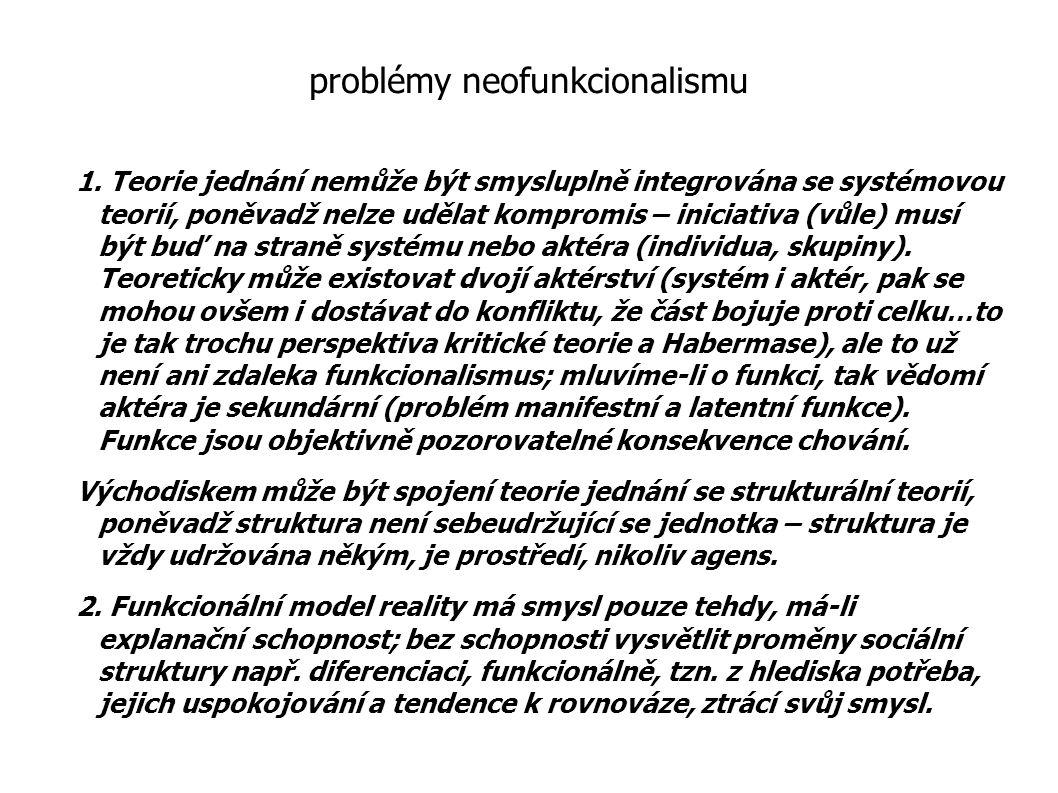problémy neofunkcionalismu 1. Teorie jednání nemůže být smysluplně integrována se systémovou teorií, poněvadž nelze udělat kompromis – iniciativa (vůl