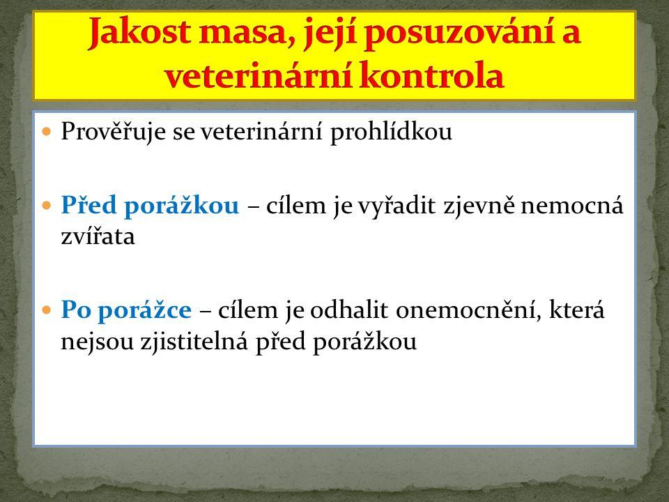 Prověřuje se veterinární prohlídkou Před porážkou – cílem je vyřadit zjevně nemocná zvířata Po porážce – cílem je odhalit onemocnění, která nejsou zji