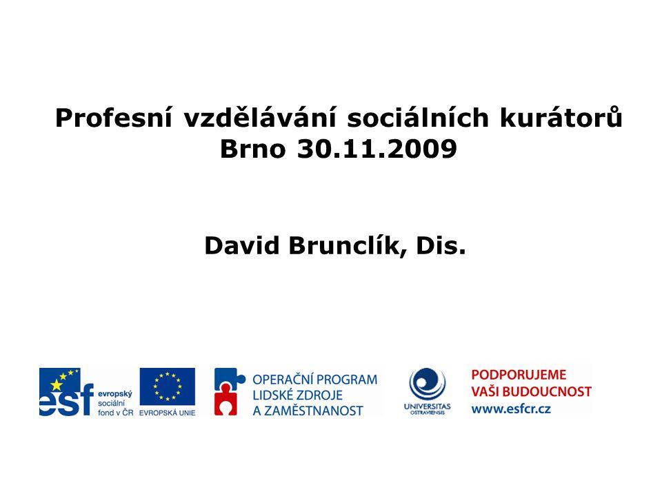 Profesní vzdělávání sociálních kurátorů Brno 30.11.2009 David Brunclík, Dis.