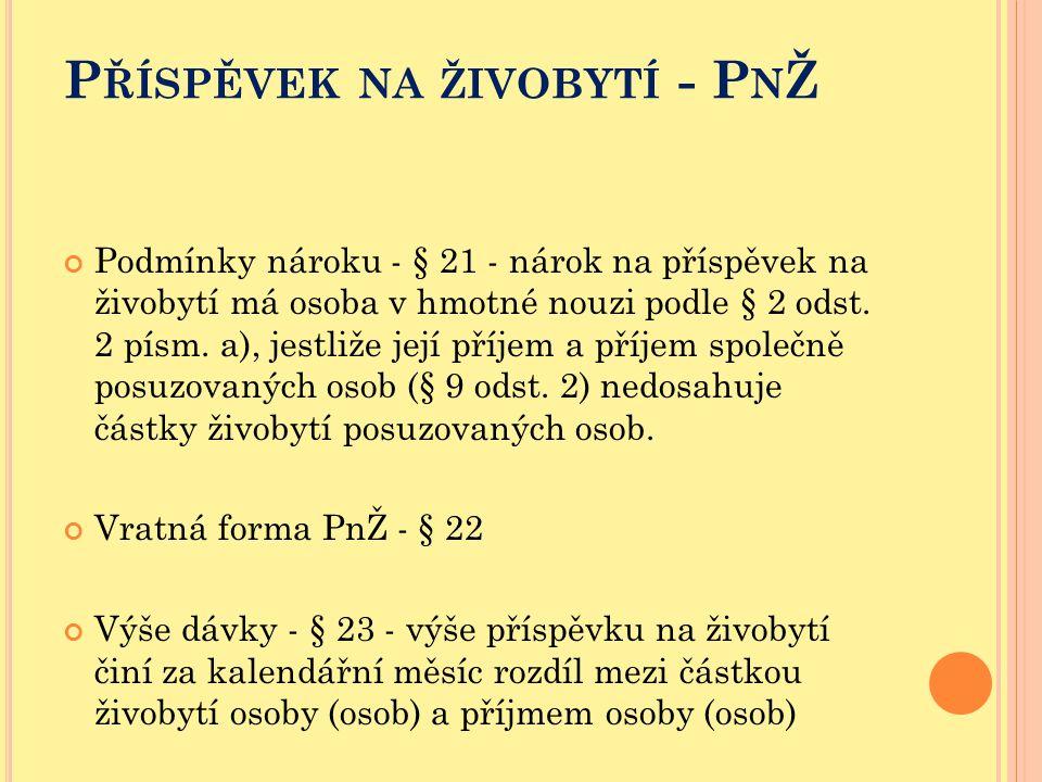 P ŘÍSPĚVEK NA ŽIVOBYTÍ - P N Ž Podmínky nároku - § 21 - nárok na příspěvek na živobytí má osoba v hmotné nouzi podle § 2 odst. 2 písm. a), jestliže je