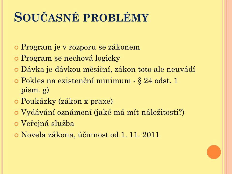S OUČASNÉ PROBLÉMY Program je v rozporu se zákonem Program se nechová logicky Dávka je dávkou měsíční, zákon toto ale neuvádí Pokles na existenční min
