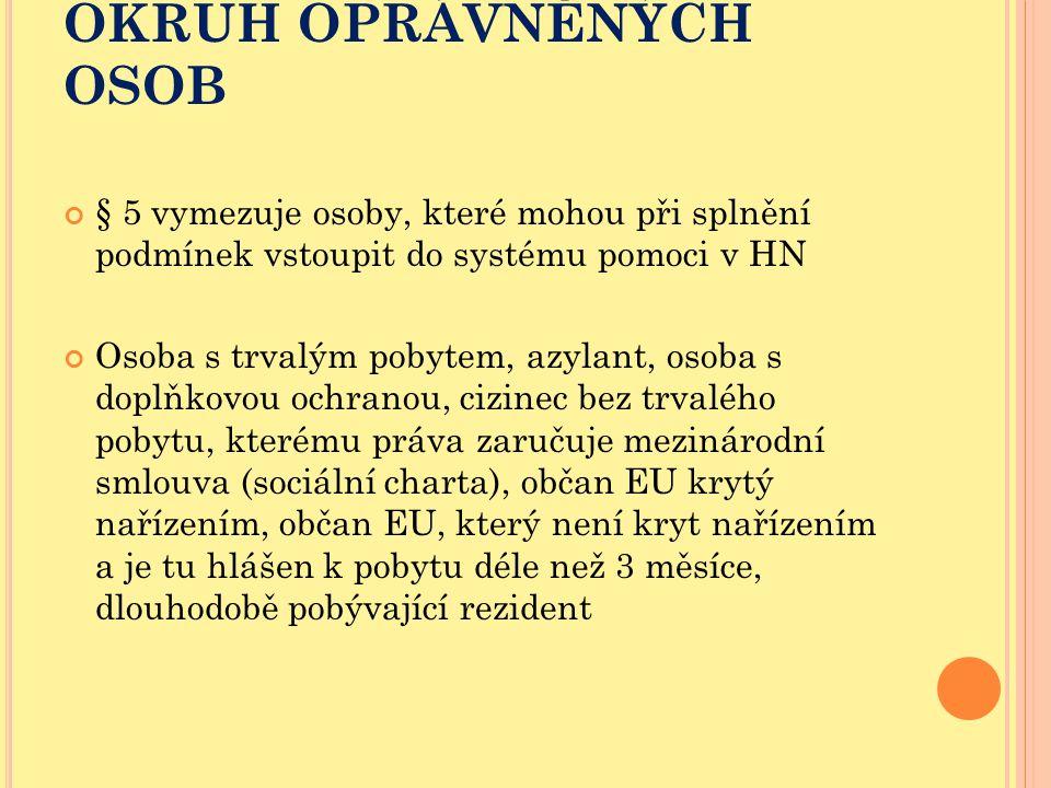 OKRUH OPRÁVNĚNÝCH OSOB § 5 vymezuje osoby, které mohou při splnění podmínek vstoupit do systému pomoci v HN Osoba s trvalým pobytem, azylant, osoba s
