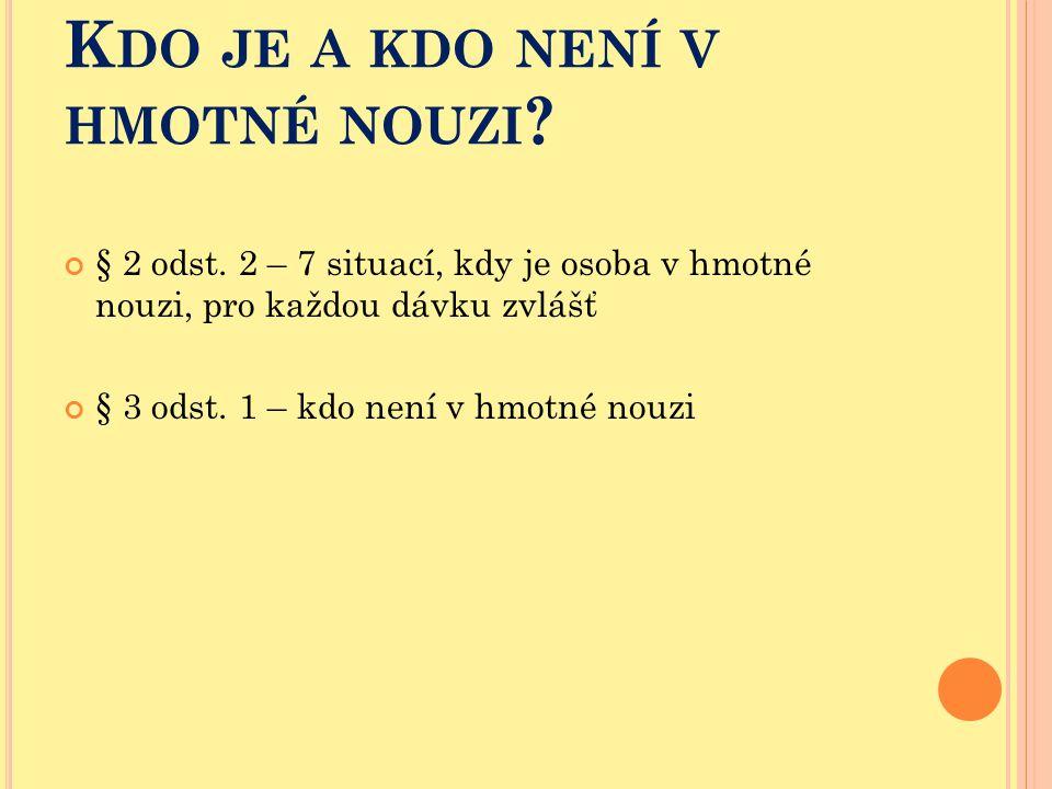K DO JE A KDO NENÍ V HMOTNÉ NOUZI ? § 2 odst. 2 – 7 situací, kdy je osoba v hmotné nouzi, pro každou dávku zvlášť § 3 odst. 1 – kdo není v hmotné nouz