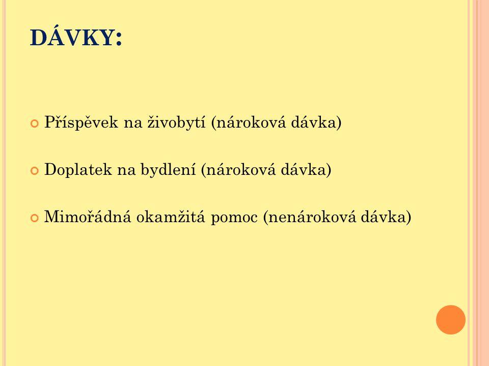 DÁVKY : Příspěvek na živobytí (nároková dávka) Doplatek na bydlení (nároková dávka) Mimořádná okamžitá pomoc (nenároková dávka)