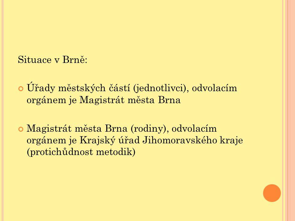 Situace v Brně: Úřady městských částí (jednotlivci), odvolacím orgánem je Magistrát města Brna Magistrát města Brna (rodiny), odvolacím orgánem je Kra