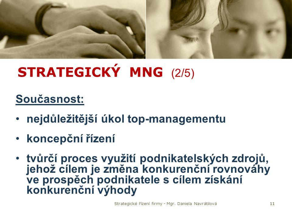 STRATEGICKÝ MNG (2/5) Současnost: nejdůležitější úkol top-managementu koncepční řízení tvůrčí proces využití podnikatelských zdrojů, jehož cílem je zm