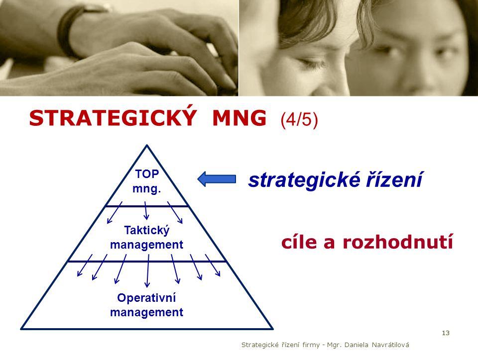STRATEGICKÝ MNG (4/5) 13 TOP mng. Taktický management Operativní management strategické řízení cíle a rozhodnutí Strategické řízení firmy - Mgr. Danie